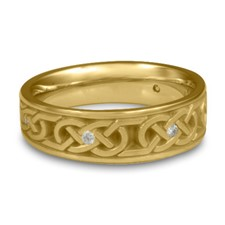 Narrow Love Knot Wedding Ring with Gems in 14K Yellow Gold