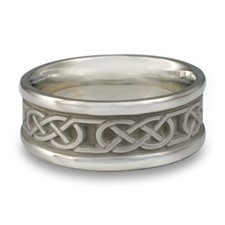 Narrow Self Bordered Love Knot Wedding Ring in Platinum