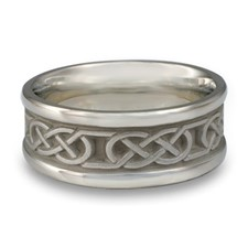 Narrow Self Bordered Love Knot Wedding Ring in Stainless Steel