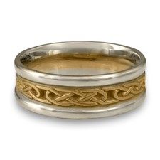 Extra Narrow Two Tone Love Knot Wedding Ring in 14K Gold White  Borders/Yellow Center Design
