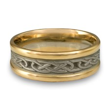 Extra Narrow Two Tone Love Knot Wedding Ring in 14K Gold Yellow Borders/White Center Design
