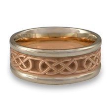 Narrow Two Tone Love Knot Wedding Ring in 14K White & Rose Gold Center