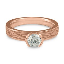 Extra Narrow Yin Yang Engagement Ring in 14K Rose Gold