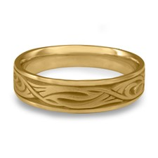 Narrow Yin Yang Wedding Ring in 14K Yellow Gold