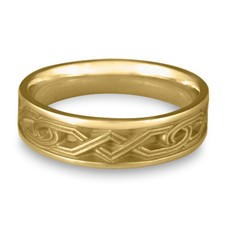 Narrow Hugs and Kisses Wedding Ring in 14K Yellow Gold