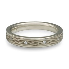 Celtic Arches Wedding Ring with Gems in 14K White Gold