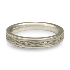 Celtic Arches Wedding Ring with Gems in Platinum
