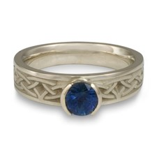 Extra Narrow Celtic Bordered Arches Engagement Ring in Sapphire
