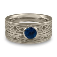 Extra Narrow Celtic Arches Bridal Ring Set in Sapphire