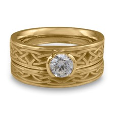 Extra Narrow Celtic Arches Bridal Ring Set in 14K Yellow Gold