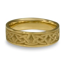 Narrow Self Bordered Celtic Arches Wedding Ring in 18K Yellow Gold