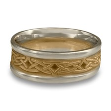 Extra Narrow Two Tone Celtic Arches Wedding Ring in 14K Gold White  Borders/Yellow Center Design