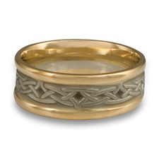 Extra Narrow Two Tone Celtic Arches Wedding Ring in 14K Yellow Gold Borders w 14K White Gold Center