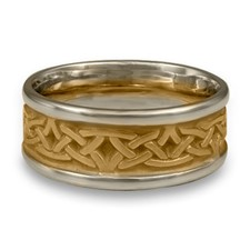 Extra Narrow Two Tone Labyrinth Wedding Ring in 14K Gold White  Borders/Yellow Center Design