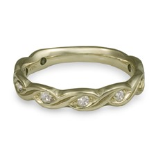 Narrow Tides Wedding Ring with Gems in 18K White Gold