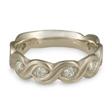 Wide Tides Wedding Ring with Gems  in 14K White Gold