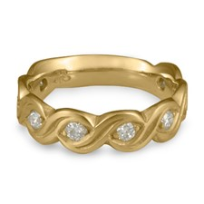 Wide Tides Wedding Ring with Gems  in 311 Diamond
