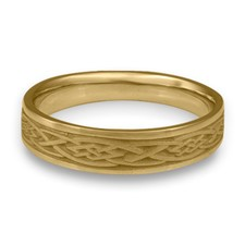 Narrow Celtic Diamond Wedding Ring in 14K Yellow Gold