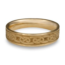 Narrow Cheek to Cheek Wedding Ring in 14K Yellow Gold