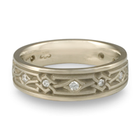 Narrow Weaving Stars Wedding Ring with Gems  in Diamond