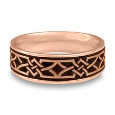 Wide Weaving Stars Wedding Ring in 14K Rose Gold