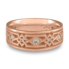 Wide Weaving Stars Wedding Ring with Gems  in 14K Rose Gold