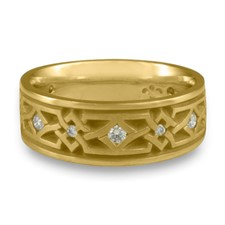 Narrow Weaving Stars Wedding Ring with Gems  in 18K Yellow Gold