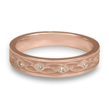 Extra Narrow Water Lilies Wedding Ring with Gems  in Diamond