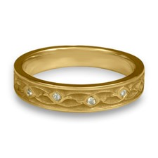 Extra Narrow Water Lilies Wedding Ring with Gems  in 14K Yellow Gold