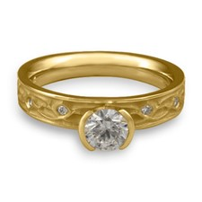 Extra Narrow Water Lilies Engagement Ring with Gems in 14K Yellow Gold