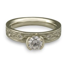 Extra Narrow Water Lilies Engagement Ring with Gems in Diamond