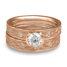 Extra Narrow Water Lilies Bridal Ring Set with Gems in 18K Rose Gold