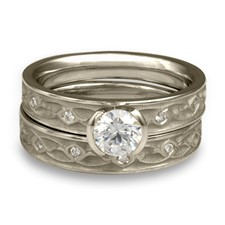 Extra Narrow Water Lilies Bridal Ring Set with Gems in Palladium