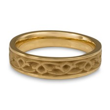 Narrow Water Lilies Wedding Ring in 14K Yellow Gold