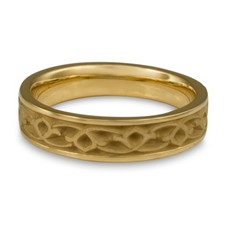 Narrow Water Lilies Wedding Ring in 18K Yellow Gold