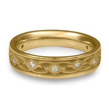 Narrow Water Lilies Wedding Ring with Gems in 14K Yellow Gold