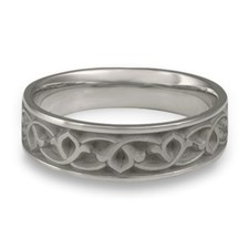 Wide Water Lillies Wedding Ring in Stainless Steel