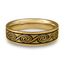 Narrow Rolling Moon Wedding Ring in 14K Yellow Gold