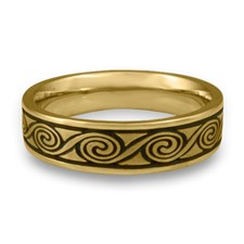 Narrow Rolling Moon Wedding Ring in 18K Yellow Gold
