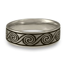Wide Rolling Moon Wedding Ring in Stainless Steel