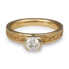 Extra Narrow Wind and Waves Engagement Ring in 14K Yellow Gold