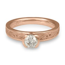 Extra Narrow Wind and Waves Engagement Ring in 18K Rose Gold