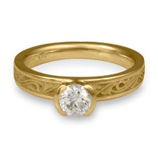 Extra Narrow Wind and Waves Engagement Ring in 18K Yellow Gold