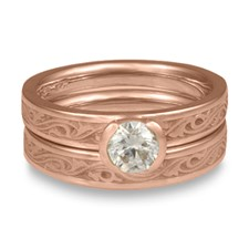 Extra Narrow Wind and Waves Bridal Ring Set in 14K Rose Gold