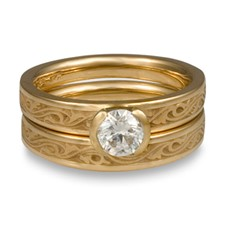 Extra Narrow Wind and Waves Bridal Ring Set in 14K Yellow Gold