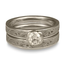Extra Narrow Wind and Waves Bridal Ring Set in Palladium