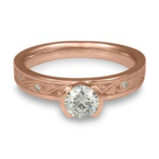 Extra Narrow Wind and Waves Engagement Ring with Gems in 14K Rose Gold