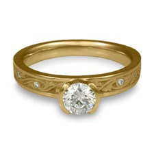 Extra Narrow Wind and Waves Engagement Ring with Gems in 14K Yellow Gold