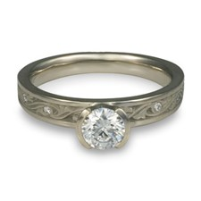Extra Narrow Wind and Waves Engagement Ring with Gems in Palladium