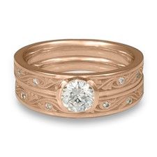 Extra Narrow Wind and Waves Bridal Ring Set with Gems in 18K Rose Gold